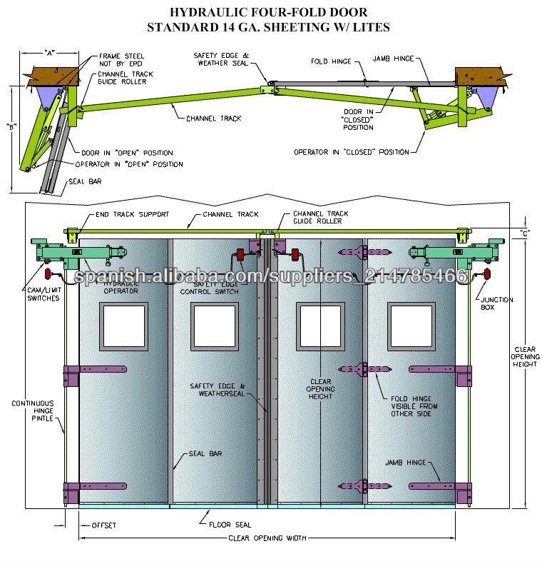 La estructura de acero Marco Puerta industrial plegable de montaje ...