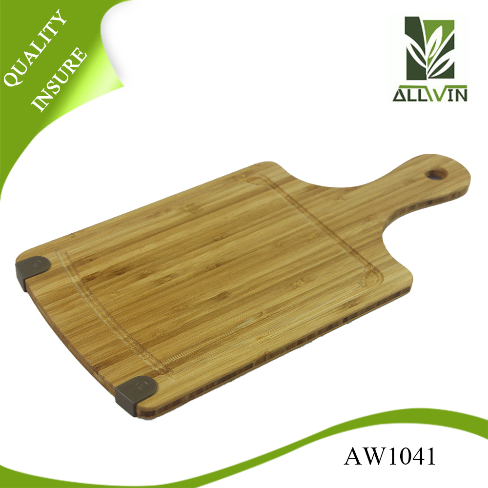 bamboo material and silicon non slip cutting board with juice groove