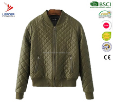 Custom Women Quilted LeatherJacket/ Winter Leather Bomber Jacket