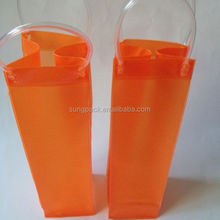 2 Bottles Pvc Packaging Bag with Handle Carried Plastic Wine Cooler Bag for Beer