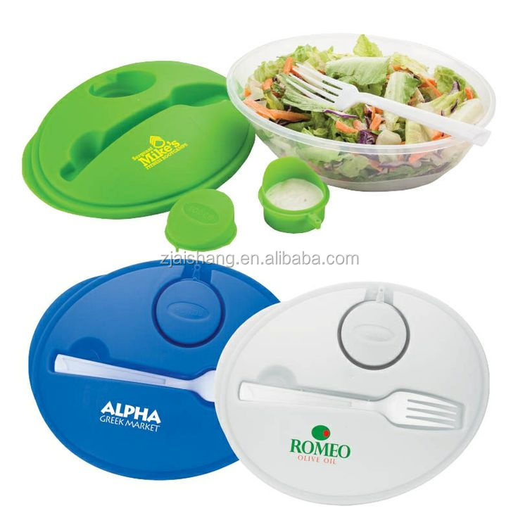 American Fashionable First Rate High Quality food grade PP Plastic Round Salad Bowl with lid and Fork Bpa free