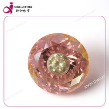 Loose Round cubic zirconia pink gemstone diamond in diamond multicolor cz