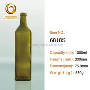 Hot sale square shape 1000ml glass oil olive bottle