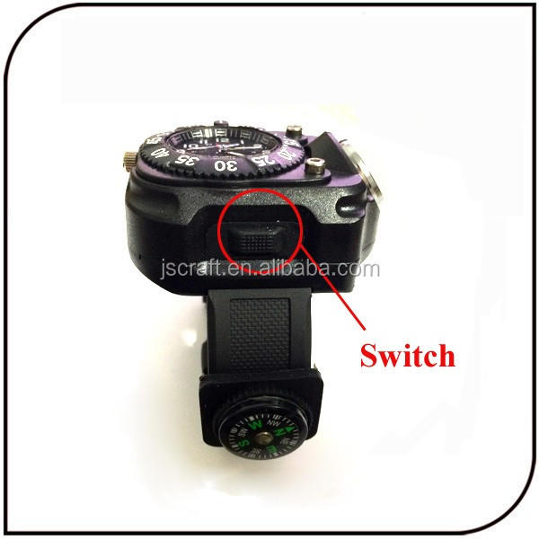 Hot sale rechargeable led watch flashlight with compass night running equipment led wrist light