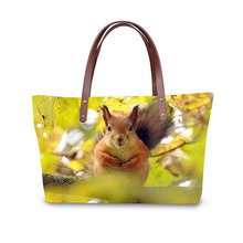 Funny style newest pictures squirrel print fashion women handbags ladies totes bags