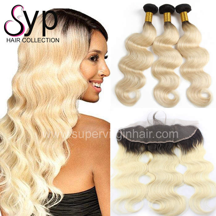 1b 613 Ombre Hair Bundle, Bestselling Brazilian Blonde Black Ombre Dark Root Body Wave Human Hair with Closure and Frontal