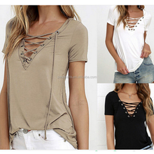 AL2763W V neck summer hollow out casual T-Shirt cross tops for woman fashion lady top
