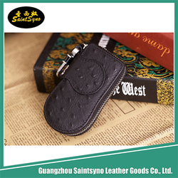 Ostrich real leather Car key pouch leather motorcycle bag with zip