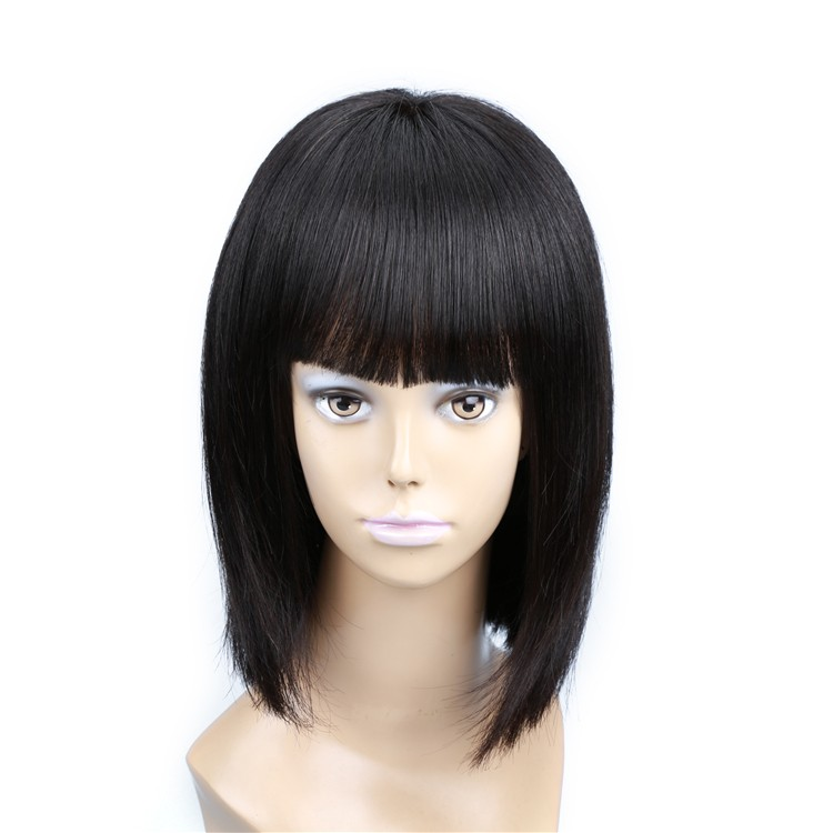 Premium quality virgin Brazilian hair bob lace front wig with bangs