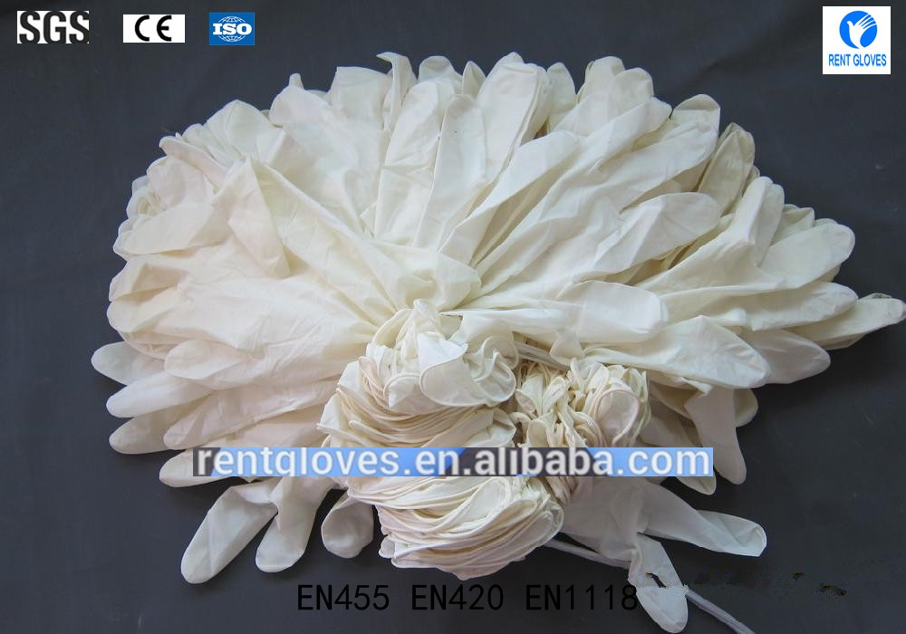 High quality Disposable powder free latex examination gloves Chinese Supplier
