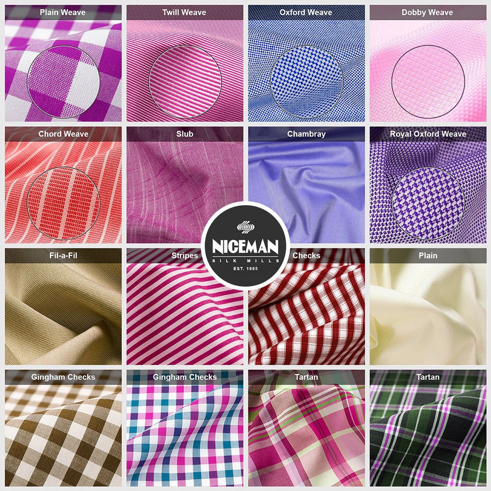 (85-100%) Polyester (15-0%) Cotton Yarn Dyed (checks, stripes, plain, twill, dobby, filafil, oxford) Shirting Fabrics
