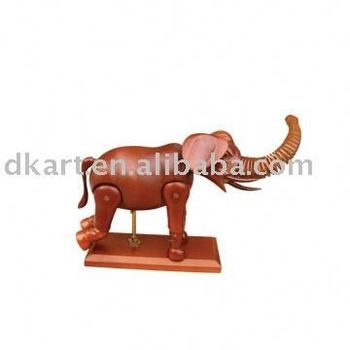 Promotion Trendy Wooden Little Models Decoration Articulated Poseable Wooden Elephant craft Manikins For Sale