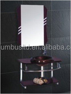 Fashionable Glass Bathroom Furniture with Mirror, Side Cabinet and Cabinet