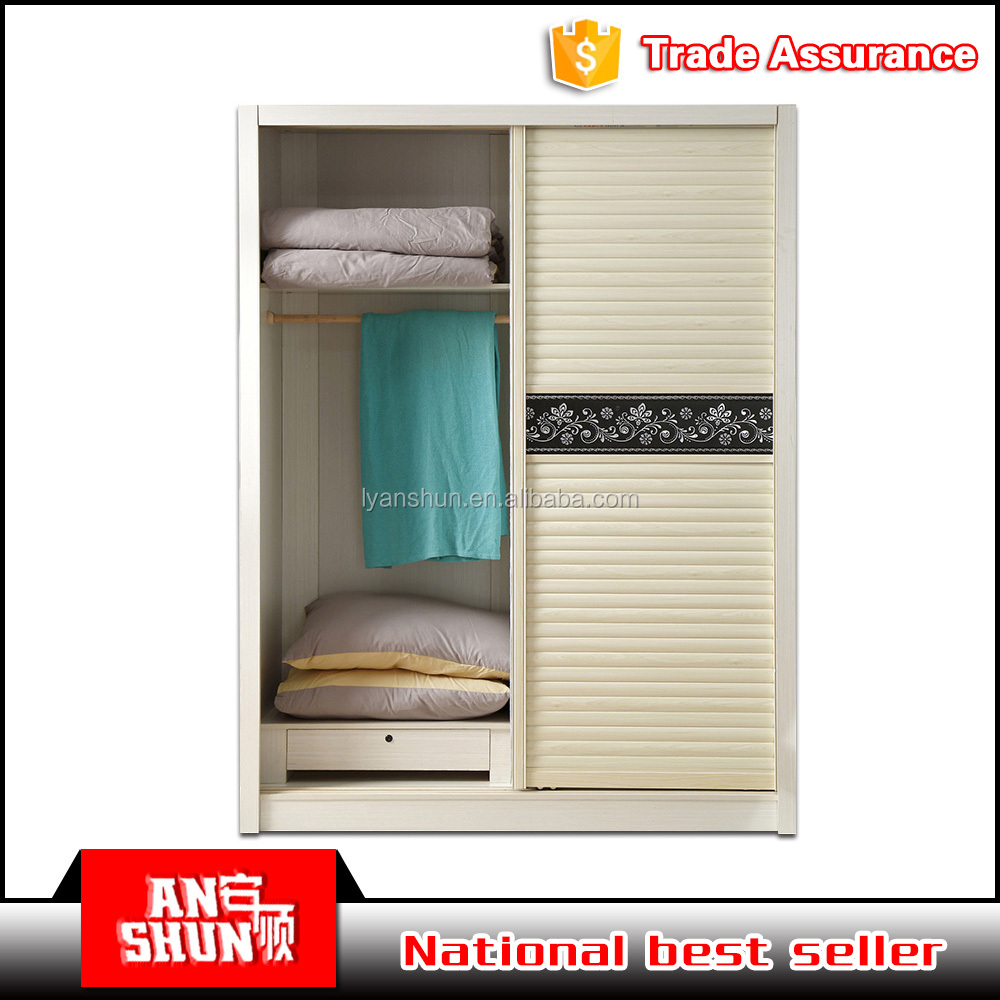 modern design sliding door metal almirah printed wardrobes small space bedroom furniture for sale