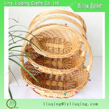 Easter wicker basket oval/ Natural fruit baskets/ Gift baskets empty with handle
