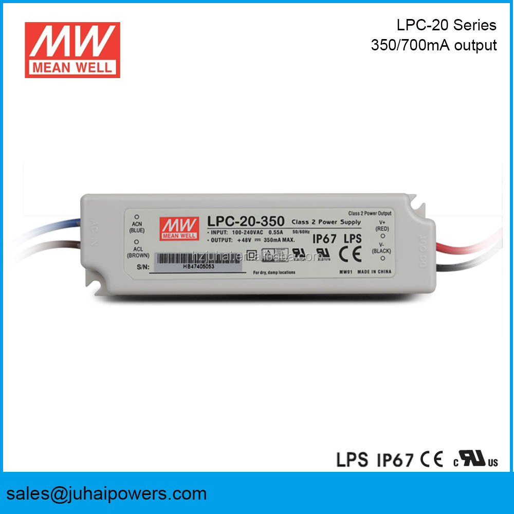 Meanwell LPC-20-350 12V 20W IP 67 IP66 IP65 Constant Current 350mA Led Driver