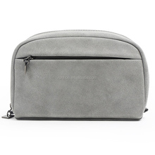 Top PU Leather GreyTravel Toiletry Bag Cosmetic Makeup Shower Bag With Large Compartment for Men Women for Trip Vacation Gym