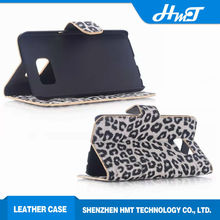 Leopard skin color Stand style leather wallet cellphone case for samsung S6