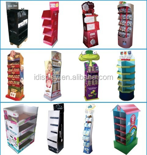 3 tiers video screen counter top display with lcd cardboard counter display