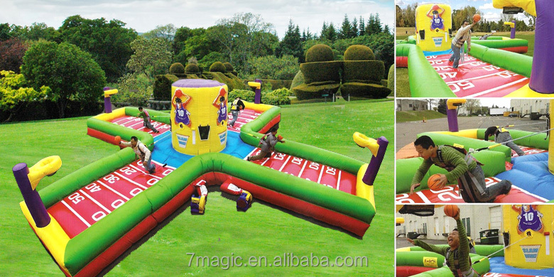 Inflatable Wacky 4-Man Equalizer / Inflatable Bungee Run /Slam Dunk Basketball Game