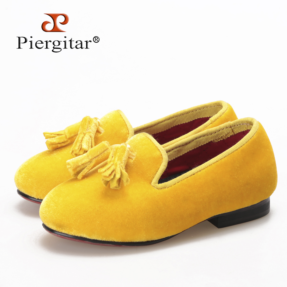 Newly Kids Yellow Velvet Loafers shoes with Yellow Tassels
