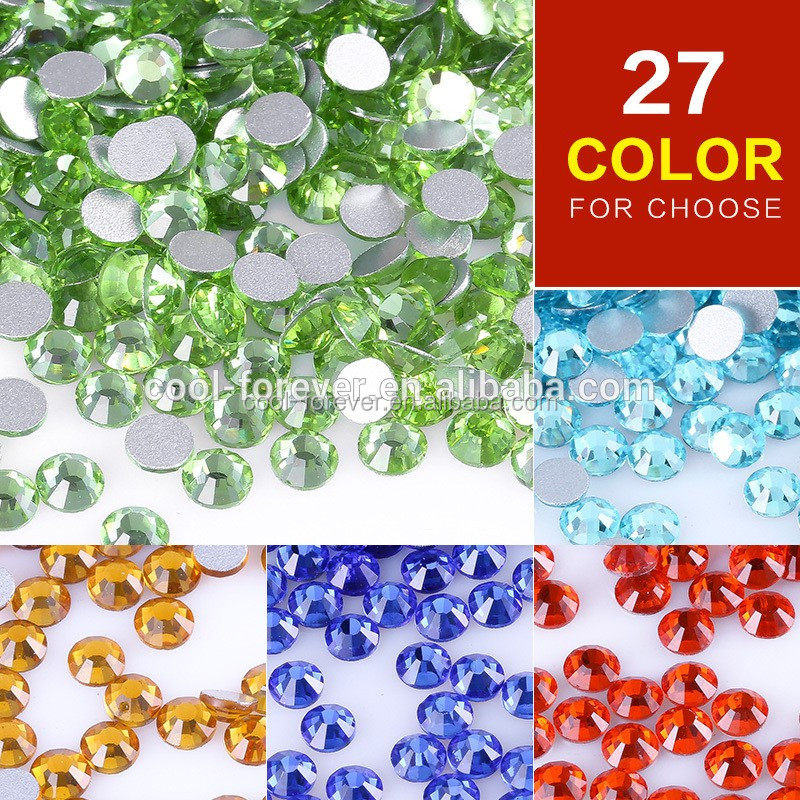 1440pcs SS3-SS40 27 colors for you choose Crystal glass hot fix rhinestones Nail Art Decoration
