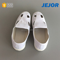 Uniex Four Holes Antistatic All White Shoes For Workshop