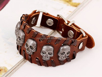 Factory direct sale punk leather bracelet restore ancient ways weaving skull leather bangle Hand-made wrist straps