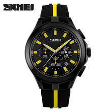 Excellent brand skmei 9135 quartz mov't silicone wristband watch chronograph men watches