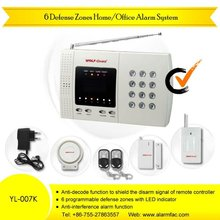 Wireless Anti-decode Auto-dial 6 Zone alarm system-YL-007K