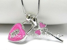 Silver Enamel Crystal Key and Heart Lock Dual Snake Chain Pendant Necklace (A102825)