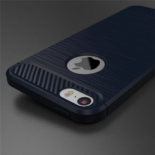 Carbon Fiber Pattern Brush TPU Soft Cover Case For Apple iPhone SE 5S 5