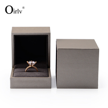 Oirlv Factory wholesale custom Luxury Leatherette paper Jewelry gift Storage packaging box Engagement Wedding Ring Box