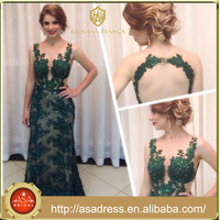 ABS-012 2015 Luxury Beaded Turquoise Sexy Keyhole Back Design Sleeveless Evening Dress Long Dresses for Occasions