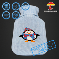 Rubber hot water bottle silicone with cute penguin design knitted cover
