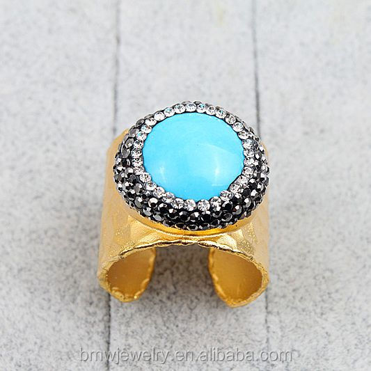 Fashion Rhinestone Turquoise Rings Handmade Pave Crystal Jewelry Gemstone Rings, Charm Copper Rings