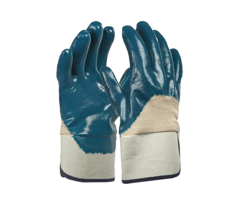Brand MHR oil and gas glove/nitrile coated hand work gloves/smooth nitrile coated glove