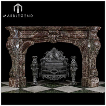 Impressive French Rosso Levanto marble antique freestanding fireplace surround