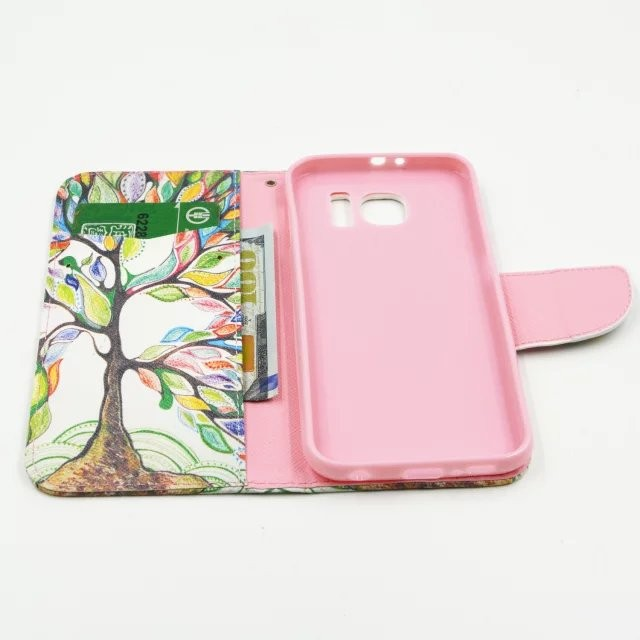cute cartoon animal flower printed printing painted magnetic pattern flip case for samsung galaxy s6 with card slot