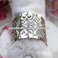 Silver color metallic paper latest wedding decoration! high quality laser cut napkin ring from YOYO crafts