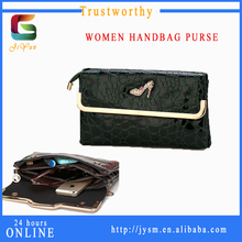 Korea Style YiWu Wholesale Leather Clutch Bag Man-made Ladies Hand Purse Shoes Set Auger Red Crocodile Grain Pu Leather Handbag