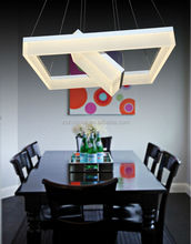 white square led chandelier made of metal&acrylic