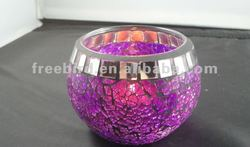 Purple Glass Mosaic Candle Holder tall