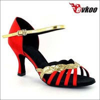 Special cover the heel dance shoes red latin dance shoes shining
