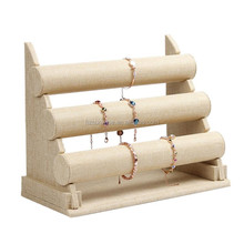 High quality oem fashion burlap wooden jewellery watch bangle bracelet display holder