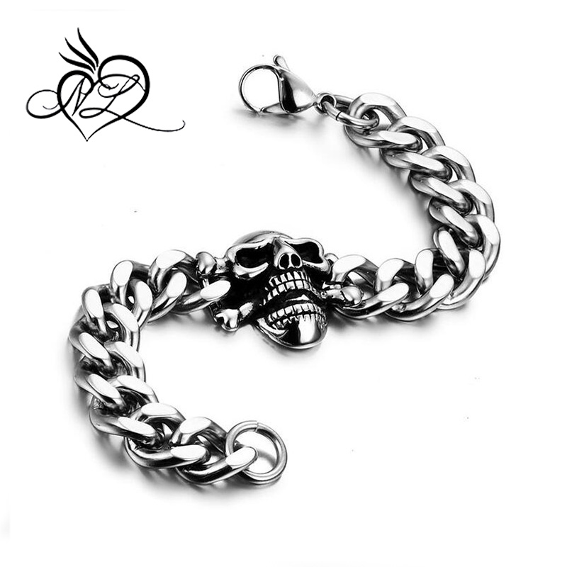 Punk Rock Skull Head Mens Stainless Link Chain Bracelet Gothic, 8.3 inch Chain