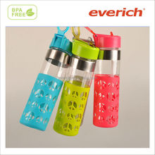 traveler translucent peace and love plastic water bottle with loop carry lid