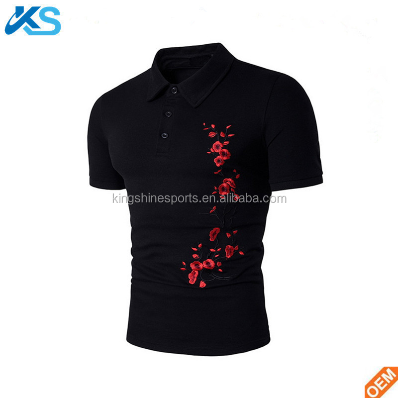 Men 100%Polyester Pique Embroidered Logo Slim Fit Polo Shirt