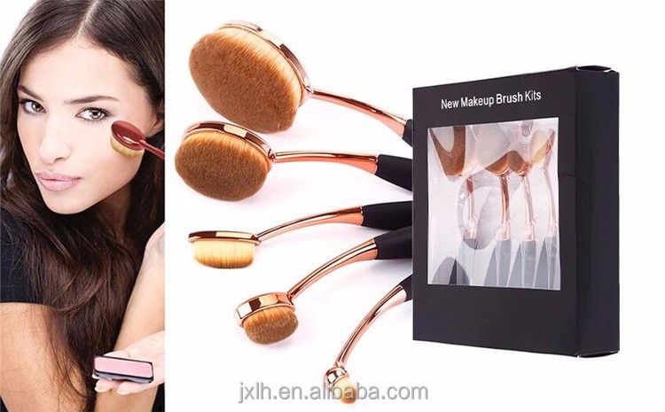 Make Up Brushes Free Samples 2016 Best Sale Rose Gold Silver New Arrival Wholesale Naked Oval Makeup Brush Set