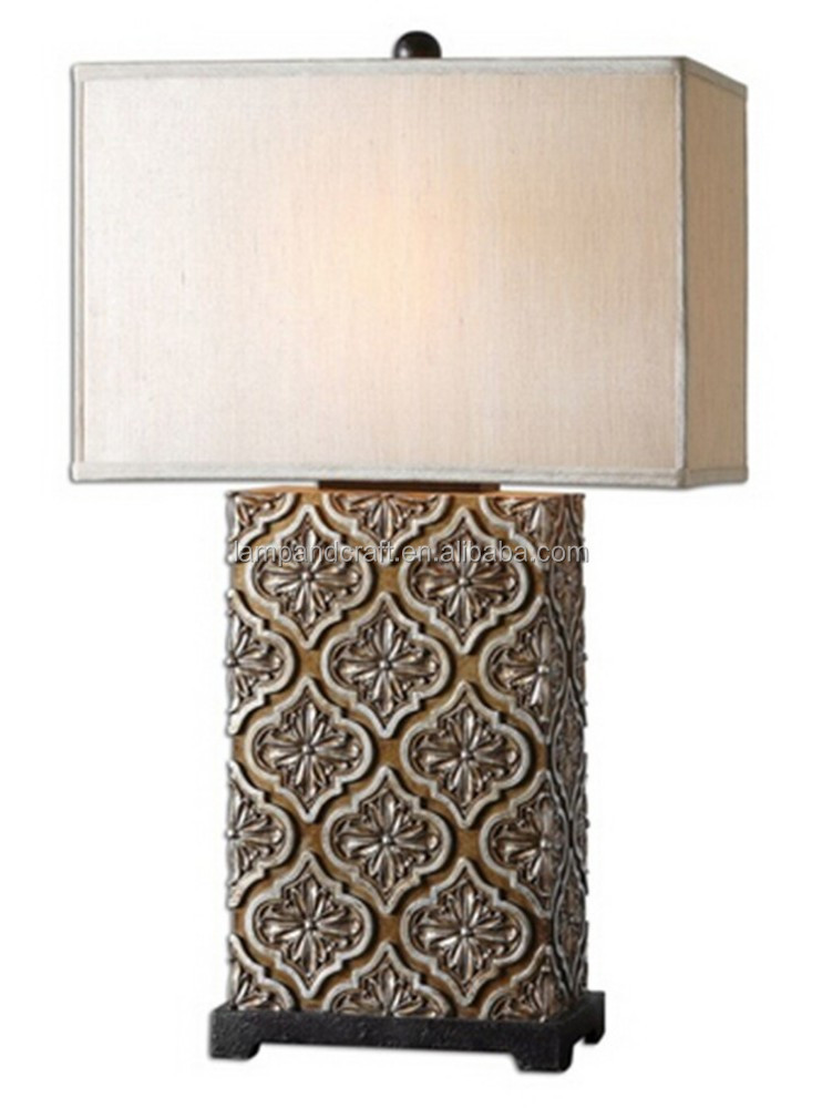 Metal finished in a plated brushed brass decorative resin desk lighting with white linen fabric tapered round hardback shade